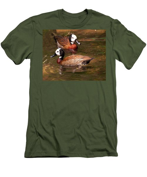 Men's T-Shirt (Slim Fit) featuring the digital art White-faced Whistling Duck by Chris Flees