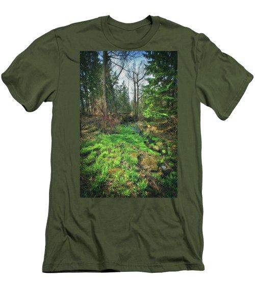 Running Creek In Woods - Spring At Retzer Nature Center Men's T-Shirt (Slim Fit) by Jennifer Rondinelli Reilly - Fine Art Photography