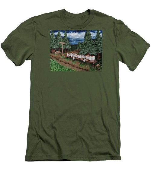 Men's T-Shirt (Slim Fit) featuring the painting Rural Delivery by Katherine Young-Beck