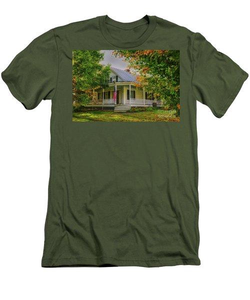 Men's T-Shirt (Slim Fit) featuring the photograph Rural Vermont Farm House by Deborah Benoit