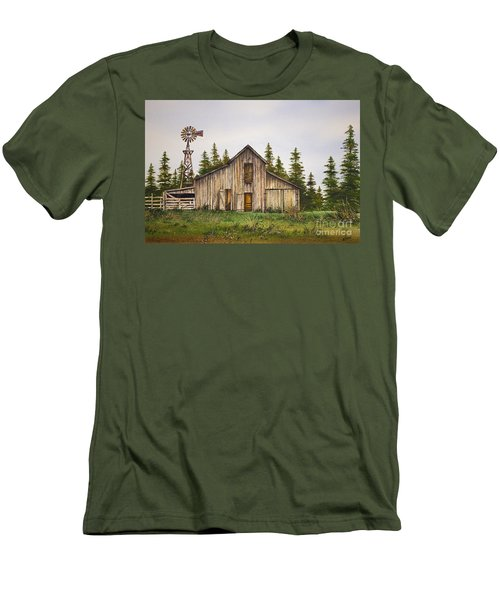 Men's T-Shirt (Slim Fit) featuring the painting Rustic Barn by James Williamson