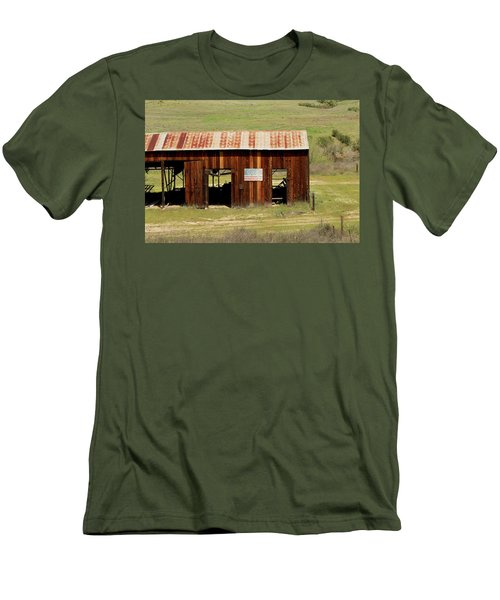 Men's T-Shirt (Slim Fit) featuring the photograph Rustic Barn With Flag by Art Block Collections