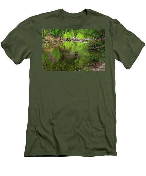Men's T-Shirt (Athletic Fit) featuring the photograph Sabino Reflection Op53 by Mark Myhaver