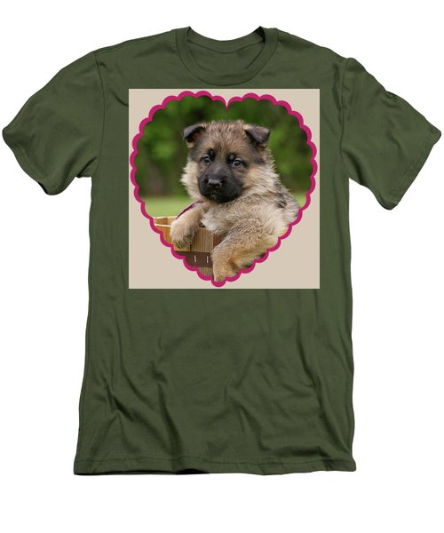 Men's T-Shirt (Slim Fit) featuring the photograph Sable Puppy In Heart by Sandy Keeton