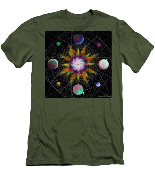 Men's T-Shirt (Slim Fit) featuring the digital art Sacred Planetary Geometry - Dark Red Atom by Iowan Stone-Flowers