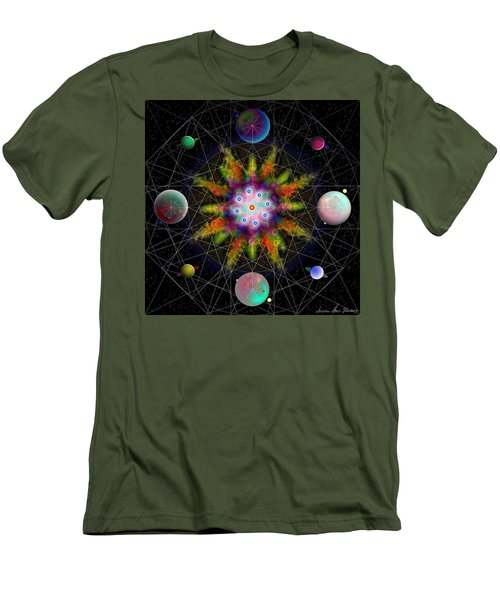 Men's T-Shirt (Athletic Fit) featuring the digital art Sacred Planetary Geometry - Dark Red Atom by Iowan Stone-Flowers