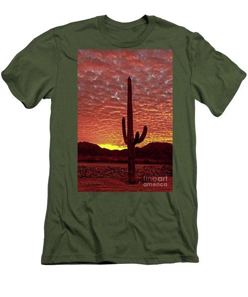 Saguaro Sunrise Men's T-Shirt (Slim Fit) by Robert Bales