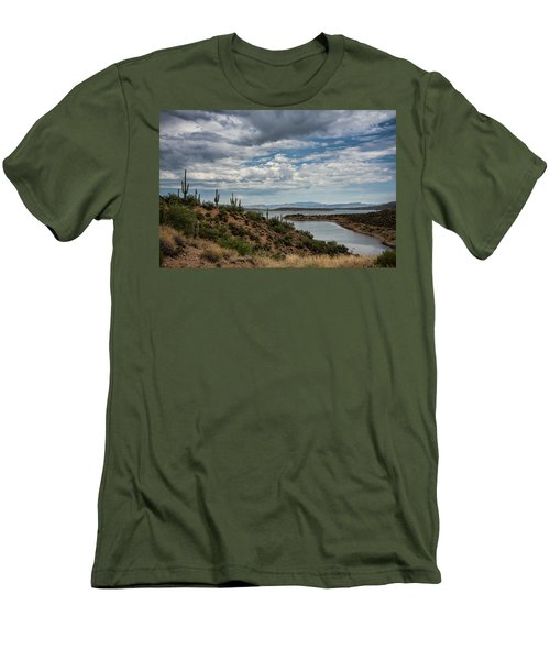 Men's T-Shirt (Athletic Fit) featuring the photograph Saguaro With A Lake View  by Saija Lehtonen