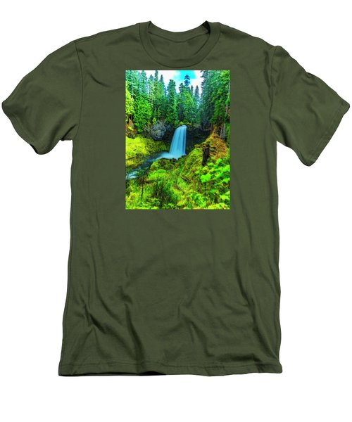 Koosa Falls, Oregon Men's T-Shirt (Slim Fit) by Nancy Marie Ricketts