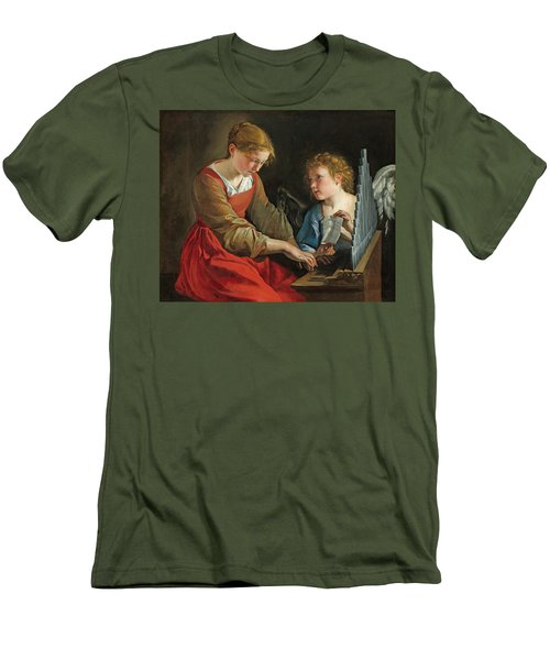 Saint Cecilia And An Angel Men's T-Shirt (Athletic Fit)