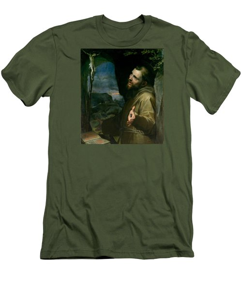 Men's T-Shirt (Slim Fit) featuring the painting Saint Francis by Federico Barocci