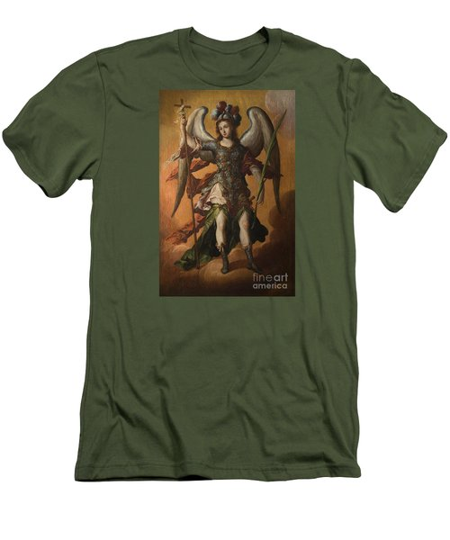 Saint Michael The Archangel Men's T-Shirt (Slim Fit) by Celestial Images