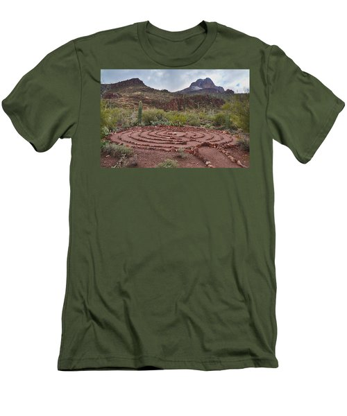 Men's T-Shirt (Slim Fit) featuring the photograph Sanctuary Cove Labyrinth by Donna Greene