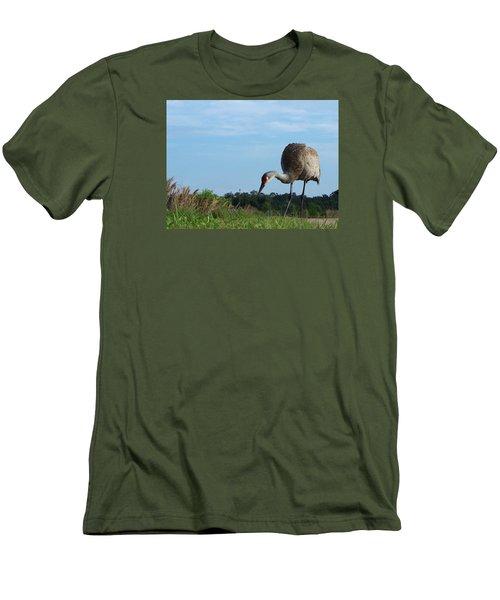 Sandhill Crane 018 Men's T-Shirt (Slim Fit) by Chris Mercer