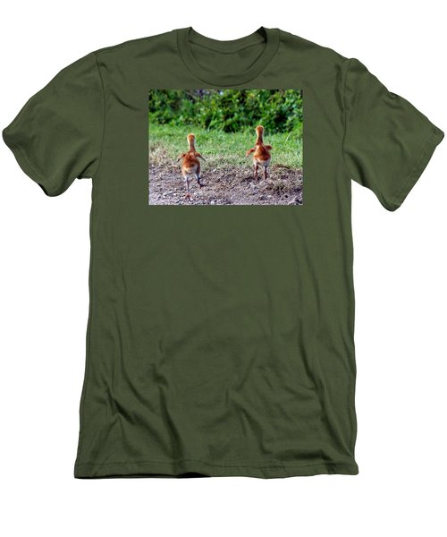 Sandhill Crane Chicks 000 Men's T-Shirt (Slim Fit) by Chris Mercer