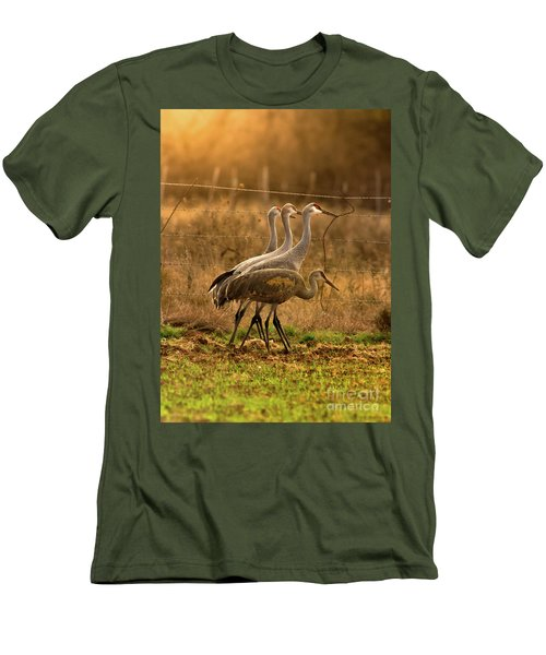 Sandhill Cranes Texas Fence-line Men's T-Shirt (Slim Fit) by Robert Frederick