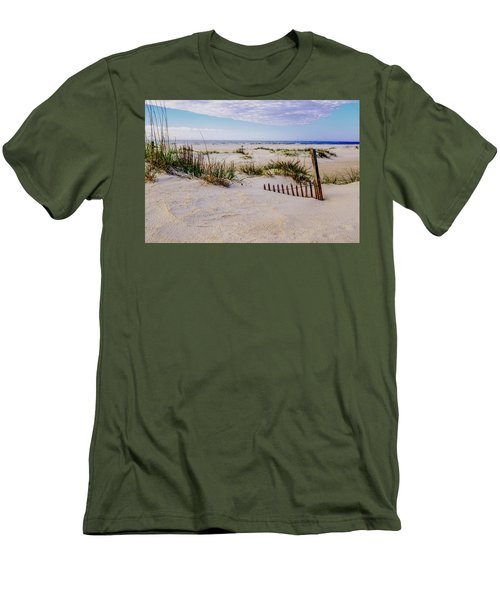 Men's T-Shirt (Slim Fit) featuring the photograph Sand  Fences On The Bogue Banks 2 by John Harding