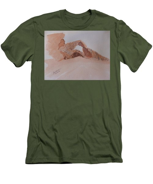 Men's T-Shirt (Athletic Fit) featuring the painting Sandstone Arch - Valley Of Fire  by Joel Deutsch