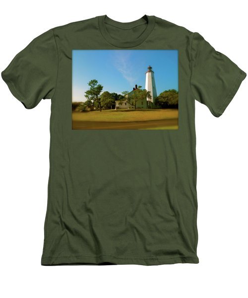Sandy Hook Lighthouse Men's T-Shirt (Slim Fit) by Iconic Images Art Gallery David Pucciarelli
