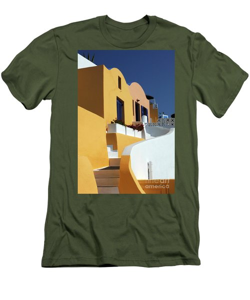 Men's T-Shirt (Slim Fit) featuring the photograph Santorini Greece Architectual Line by Bob Christopher