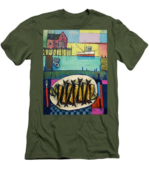 Men's T-Shirt (Slim Fit) featuring the painting Sardines by Mikhail Zarovny
