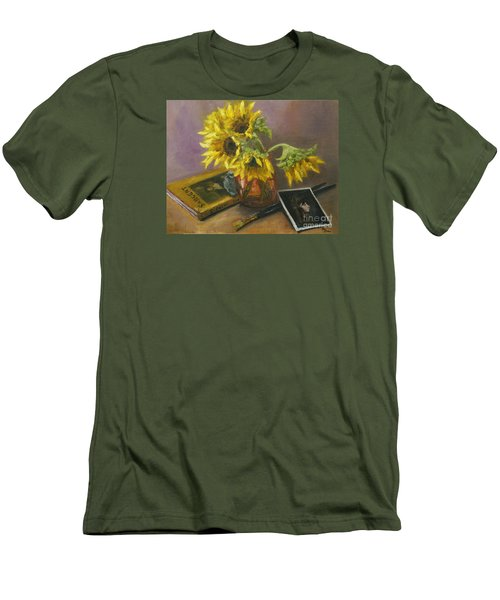 Men's T-Shirt (Slim Fit) featuring the painting Sargent And Sunflowers by Lisa  Spencer