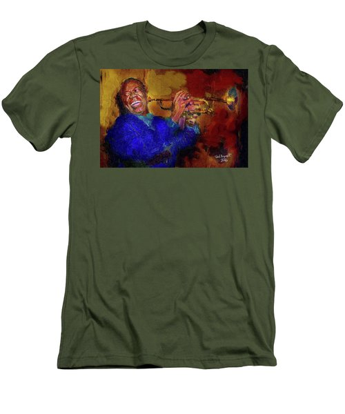 Men's T-Shirt (Slim Fit) featuring the painting Satchmo by Ted Azriel
