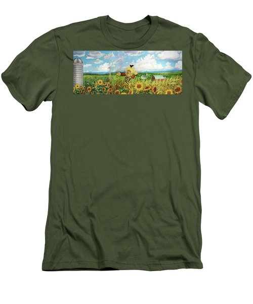 Scare Crow And Silo Farm Men's T-Shirt (Slim Fit) by Bonnie Siracusa