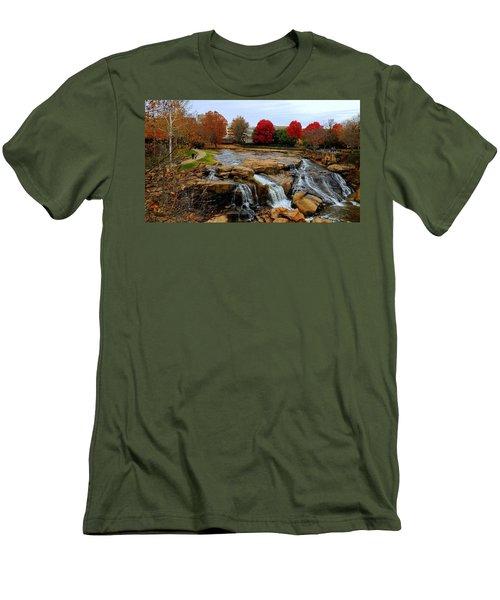 Scene From The Falls Park Bridge In Greenville, Sc Men's T-Shirt (Slim Fit) by Kathy Barney