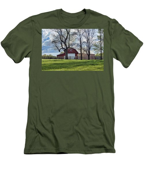 Men's T-Shirt (Slim Fit) featuring the photograph Schooler Road Barn by Cricket Hackmann