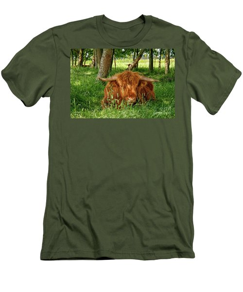 Men's T-Shirt (Slim Fit) featuring the photograph Scottish Higland Cow by Patricia Hofmeester