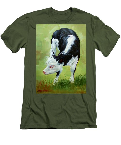 Men's T-Shirt (Slim Fit) featuring the painting Scratching Calf by Margaret Stockdale