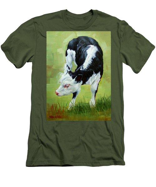 Scratching Calf Men's T-Shirt (Slim Fit) by Margaret Stockdale