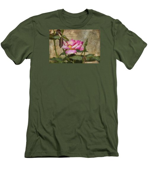 Men's T-Shirt (Slim Fit) featuring the photograph Scripted Rose by Joan Bertucci