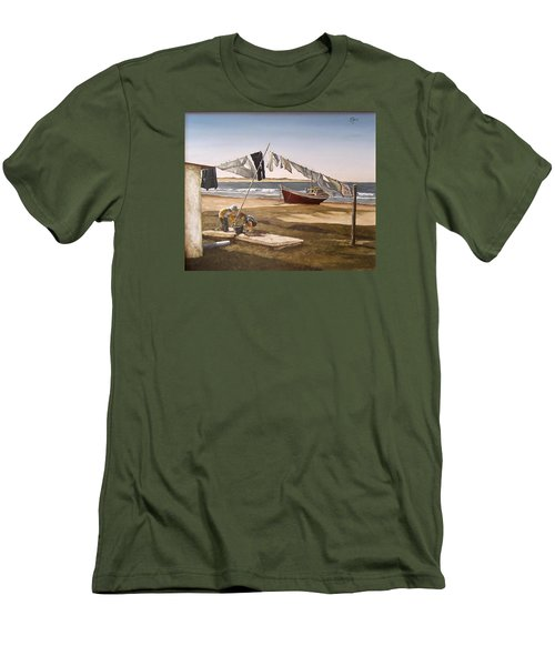 Men's T-Shirt (Slim Fit) featuring the painting Sea Kids by Natalia Tejera