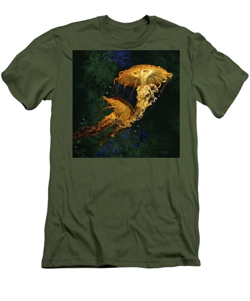Men's T-Shirt (Slim Fit) featuring the digital art Sea Nettle Jellies by Thanh Thuy Nguyen