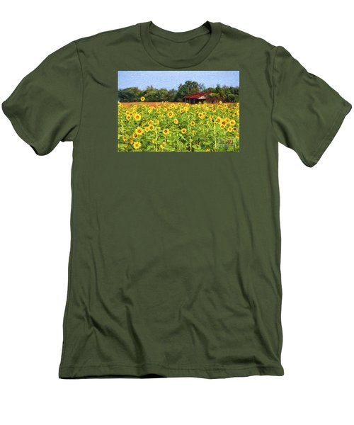 Sea Of Sunflowers Men's T-Shirt (Slim Fit) by Bonnie Barry