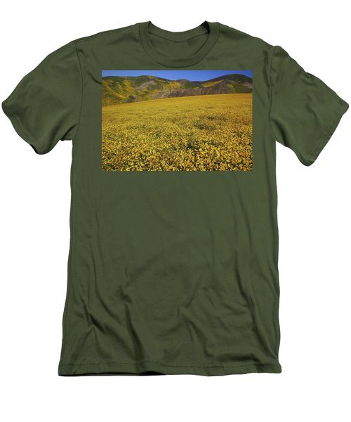 Men's T-Shirt (Slim Fit) featuring the photograph Sea Of Yellow Up In The Temblor Range At Carrizo Plain National Monument by Jetson Nguyen
