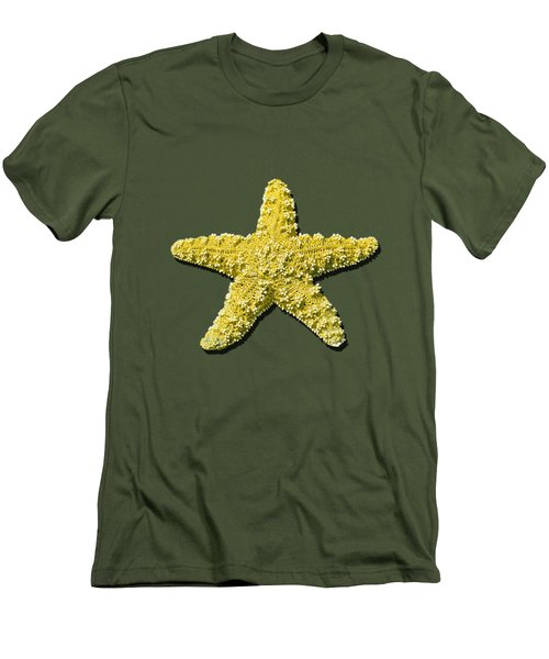 Men's T-Shirt (Slim Fit) featuring the photograph Sea Star Yellow .png by Al Powell Photography USA