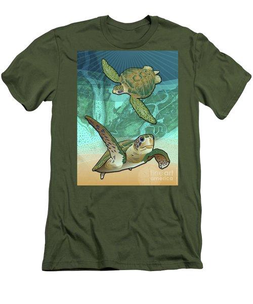 Sea Turtles Near Beaufort, Sc Men's T-Shirt (Athletic Fit)
