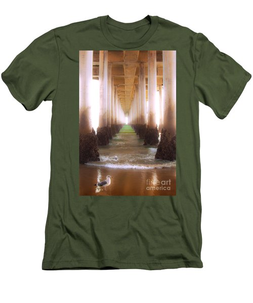 Men's T-Shirt (Slim Fit) featuring the photograph Seagull Under The Pier by Jerry Cowart