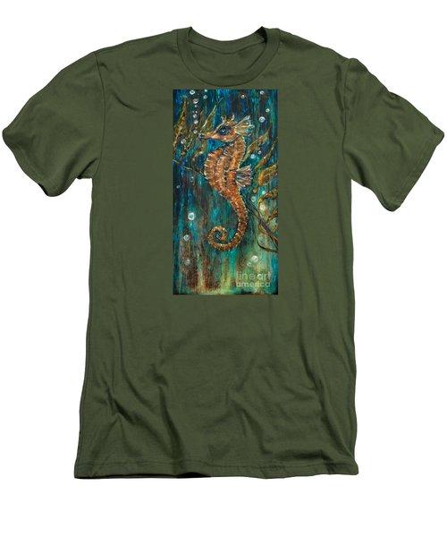 Seahorse And Kelp Men's T-Shirt (Slim Fit) by Linda Olsen