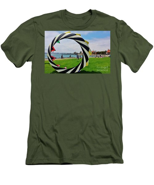 Men's T-Shirt (Slim Fit) featuring the photograph Seaport Villagethrough My Lens by Jasna Gopic