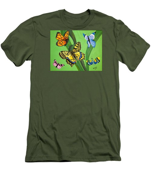 Men's T-Shirt (Slim Fit) featuring the painting Season Of Butterflies by Donna Blossom