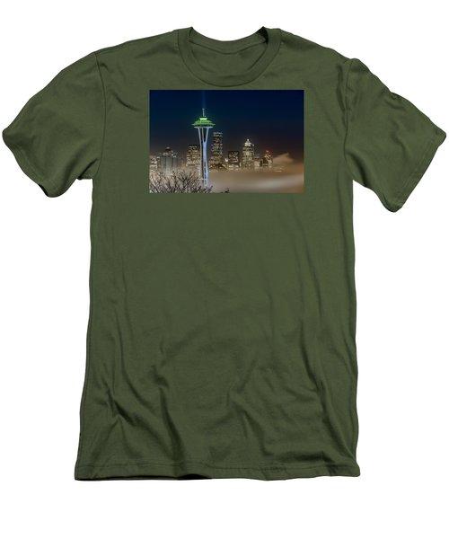Seattle Foggy Night Lights Men's T-Shirt (Slim Fit) by Ken Stanback