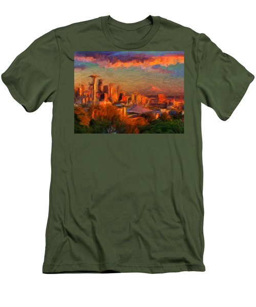 Seattle Sunset 1 Men's T-Shirt (Slim Fit) by Caito Junqueira