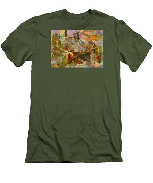 Men's T-Shirt (Slim Fit) featuring the mixed media Secrets by Mary Schiros