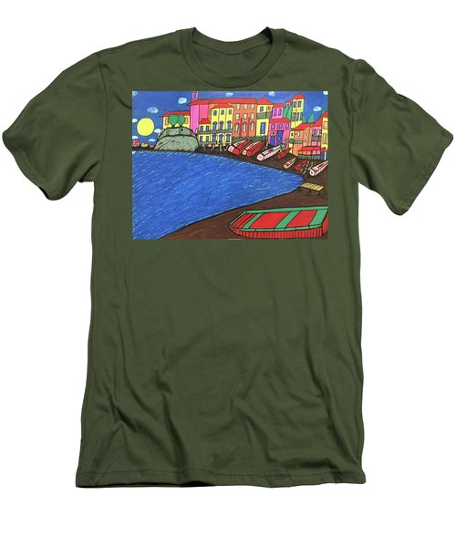 Men's T-Shirt (Slim Fit) featuring the painting Sestri Levante Italy by Jonathon Hansen