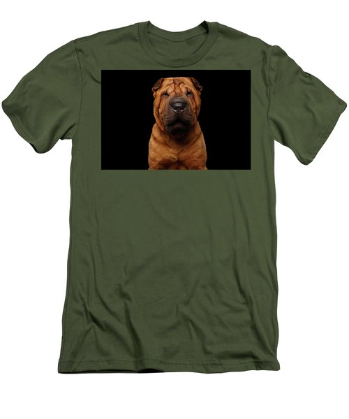 Sharpei Dog Isolated On Black Background Men's T-Shirt (Slim Fit) by Sergey Taran
