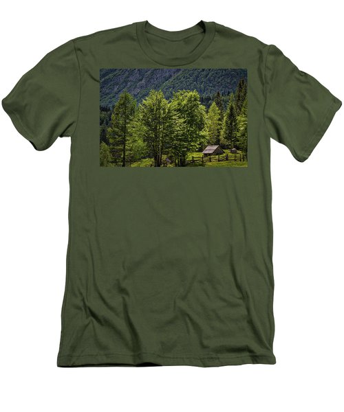 Men's T-Shirt (Athletic Fit) featuring the photograph Shed In The Slovenian Alps by Stuart Litoff